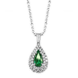 White Diamonds Green Emerald With Pendant Necklace